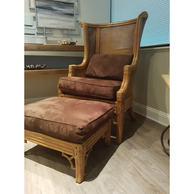 2010s Lane Venture Cane Back Wing Chair & Ottoman For Sale - Image 5 of 8