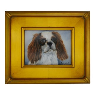Vintage Mid-Century Gilt Framed Cavalier King Charles Dog Oil Painting For Sale
