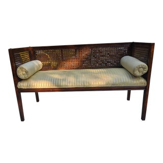 Mid Century Walnut Cane-Back Settee Bench Loveseat For Sale