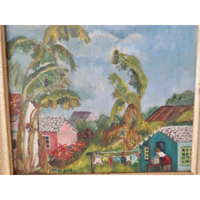 Blue Mid-Century Island Scene Oil Painting For Sale - Image 8 of 12