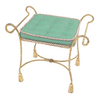 Italian Faux Twisted Rope Gold Gilt Metal Bench For Sale