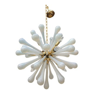 Murano Glass Sputnik with Metal Frame Gold Chandelier For Sale