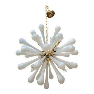 Murano Glass Sputnik with Metal Frame Gold Chandelier For Sale