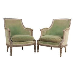 French 19th Century Louis XVI Style Painted Bergères - a Pair For Sale