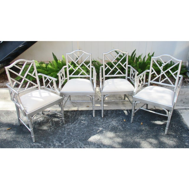 1970s Vintage Chinese Chippendale Hollywood Regency Silver Bamboo Arm Chairs- Set of 4 For Sale - Image 9 of 9