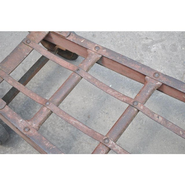 Antique Industrial Steampunk Distressed Iron & Wood Hand Truck Cart Coffee Table For Sale - Image 10 of 11