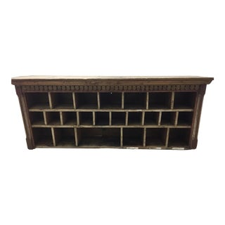 1940s Rustic Wooden Desk Organizer/Mail Sorting Cabinet For Sale