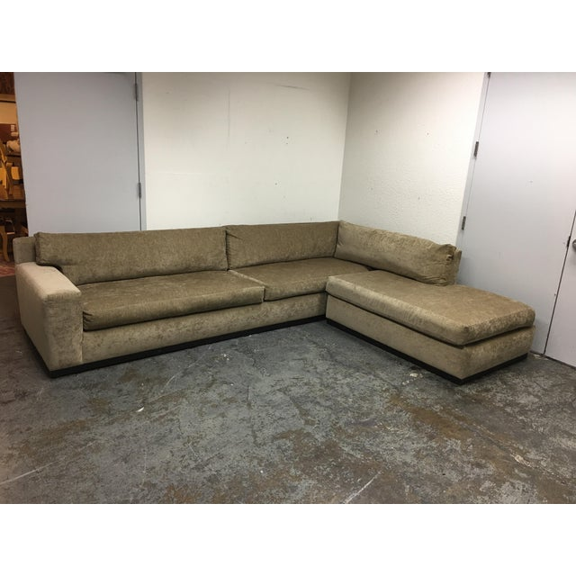 Cisco Furniture Green Velvet Two Piece Sectional For Sale - Image 4 of 11