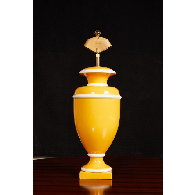 Metal Vintage Italian Ceramic Lamp in Yellow and White For Sale - Image 7 of 9
