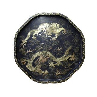 Round Octagon Chinese Double Gold Dragons Lacquer Wood Tray Plate