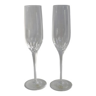 Vintage Crystal Champagne Flutes by Rogaska Yugoslavia - a Pair For Sale