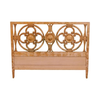 Hollywood Regency Custom Quality Faux Painted Queen Headboard For Sale