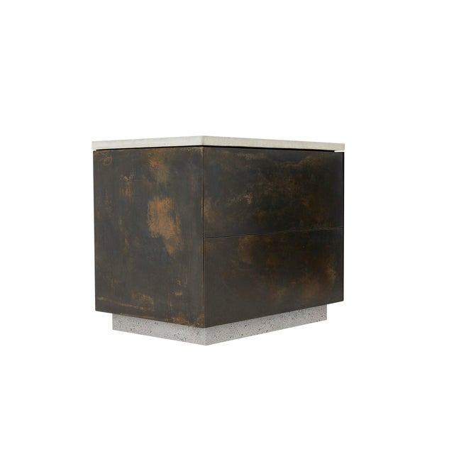 Contemporary s.o. Side Table With Cabinet Doors For Sale - Image 3 of 5