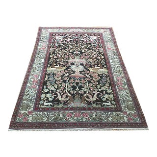 Antique Black Ground Persian IsfahanAhmad Area Rug- 4′2″ × 6′6″ For Sale