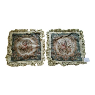 Handmade Embroidered Needlepoint Green Floral Pillow Cases - A Pair