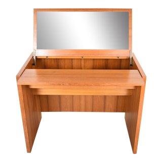 Scandinavian Modern Teak Flip Open Make Up Vanity W/Mirror by Jesper International Denmark 1960-1980 For Sale