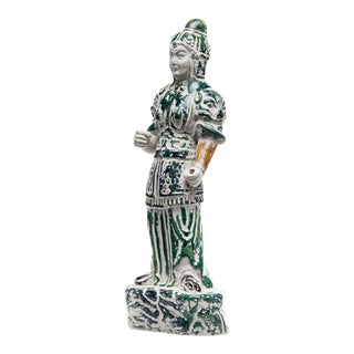 Standing Warrior Hand Painted Porcelain Statuette Figure For Sale