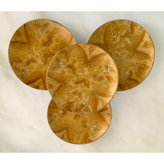 Mid-Century Dorothy Thorpe Gold Butterfly Bread and Butter Plates - Set of 4 For Sale - Image 6 of 6