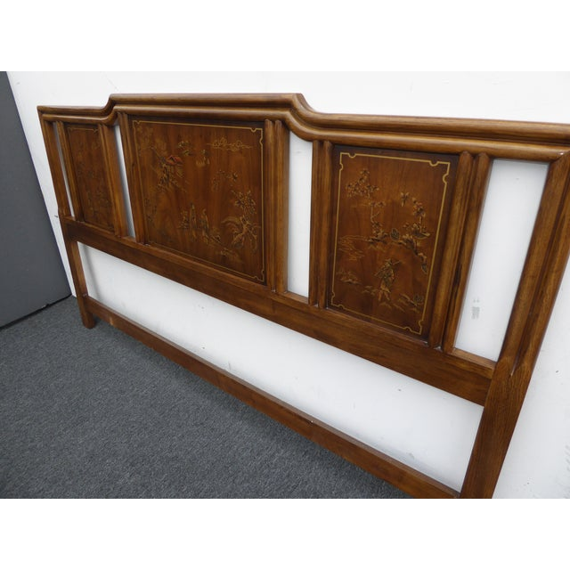 Vintage Drexel Heritage Mid-Century Modern Floral Chinoiserie King Headboard - Image 6 of 11