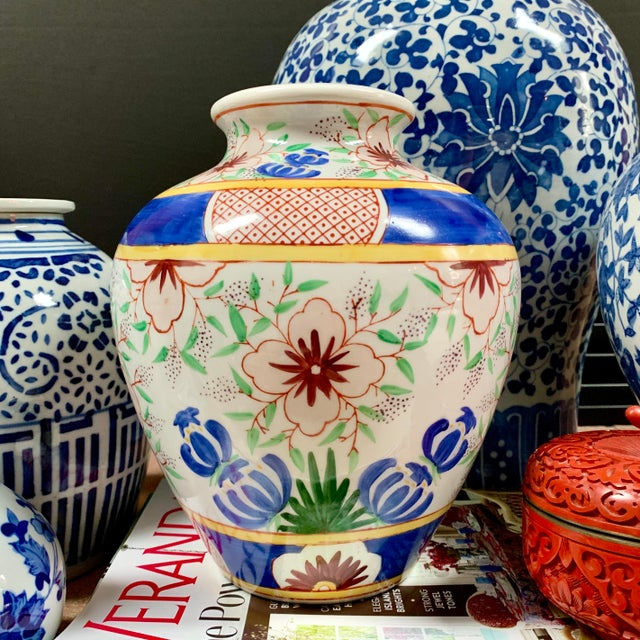 Vintage Chinese Porcelain Colorful Hand Painted Floral Vase For Sale In Chicago - Image 6 of 9
