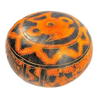 Vintage Peruvian Hand-Carved Gourd Pomander For Sale
