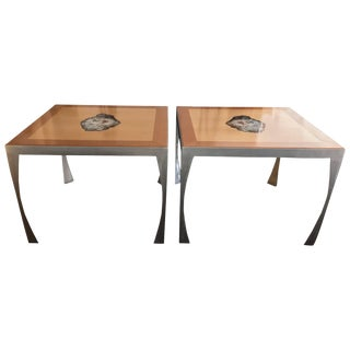Pair of Artist Made Maple, Petrified Wood and Steel Contemporary Dining Tables For Sale