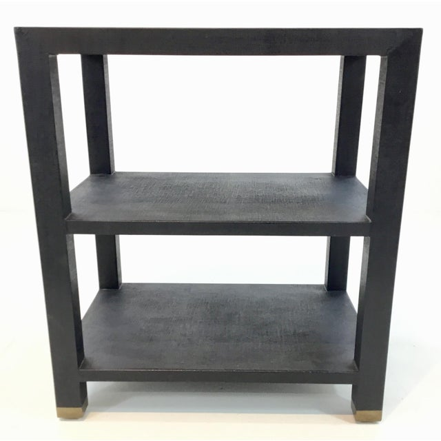 Stylish modern Made Goods navy linen side table, brass detail, showroom floor sample, original retail $1450