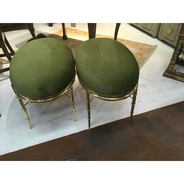 1970s Mastercraft Brass Faux Bamboo Benches - a Pair For Sale - Image 5 of 10