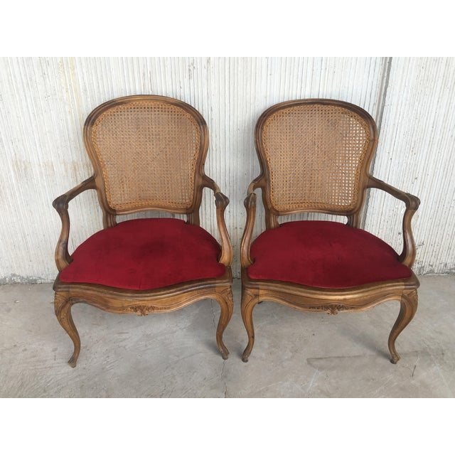 18th Louis XV Cane Back and Seat Fauteuil Armchair. For Sale - Image 9 of 13