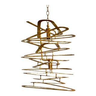 Currey & Co. Gold Sculptural Abstract Chandelier For Sale
