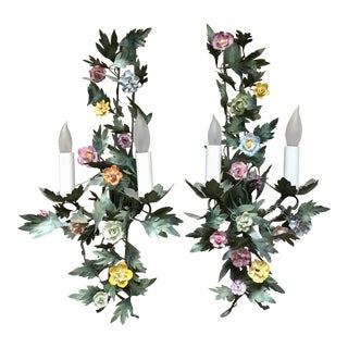 2 Italian Tole & Porcelain Flower Vintage Sconces For Sale
