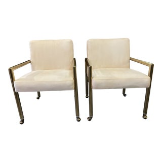 1980s Tubular Brass Armchairs by Mastercraft - a Pair For Sale