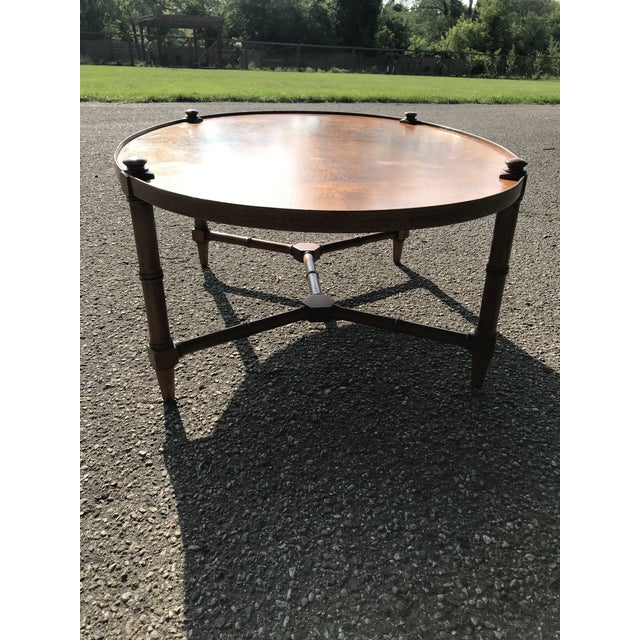 Baker Furniture Company Oval Walnut Coffee Table For Sale - Image 4 of 9