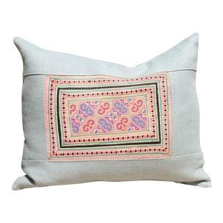 Vintage Cross Stitch Hmong Textile Pillow
