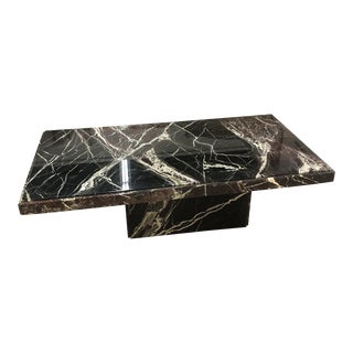 1980's Modern Marble Rectangular Coffee Table For Sale