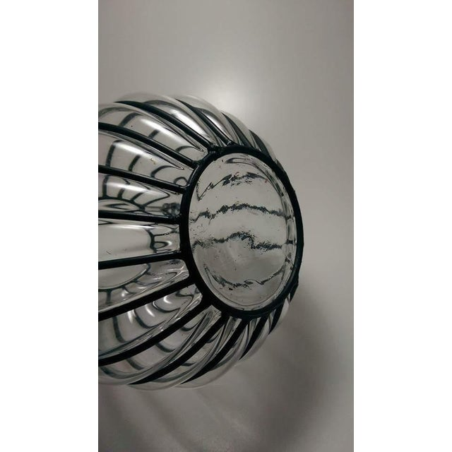 Caged Bubble Glass & Wrought Iron Lantern Hanging Basket - Image 6 of 7