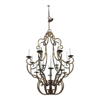 Large Iron Gold Finish 16 Light Chandelier For Sale