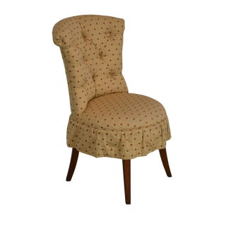 Hickory Chair Co. Custom Upholstered Gold & Red Tufted Vanity Chair For Sale