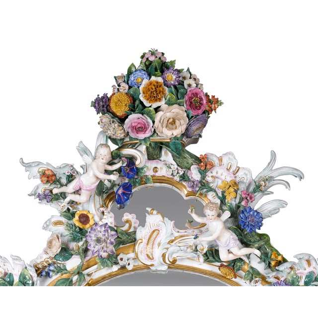 MEISSEN PORCELAIN ROCOCO MIRROR For Sale - Image 9 of 10