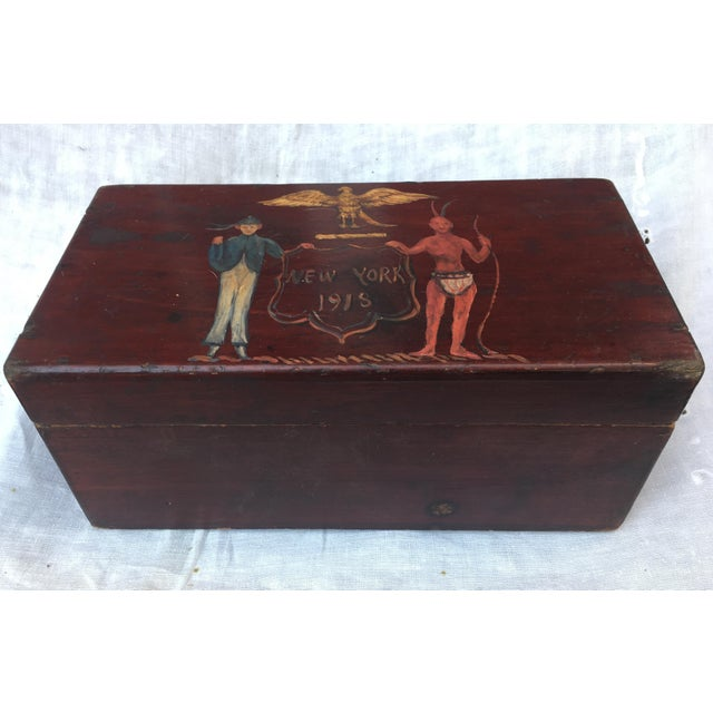 Antique Wooden Box W/Colonial Crest For Sale - Image 5 of 10
