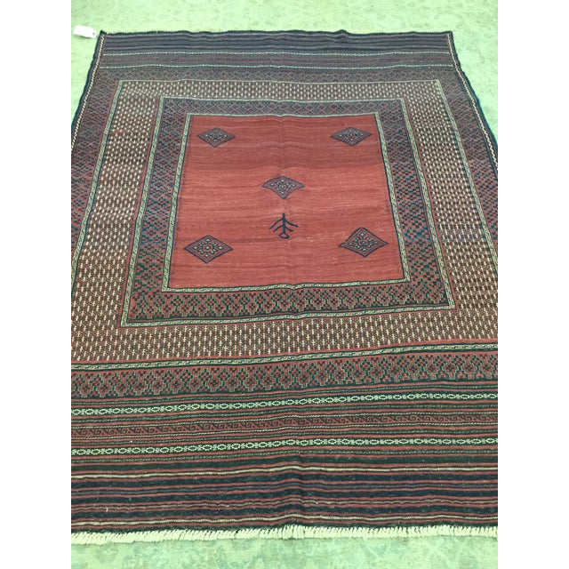 Red & Blue Vintage Turkish Kilim Rug - 6′ × 7′ For Sale In Los Angeles - Image 6 of 8