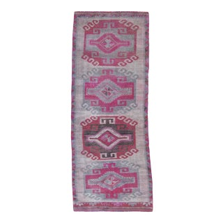 Vintage Grey and Pink Turkish Wool Runner For Sale