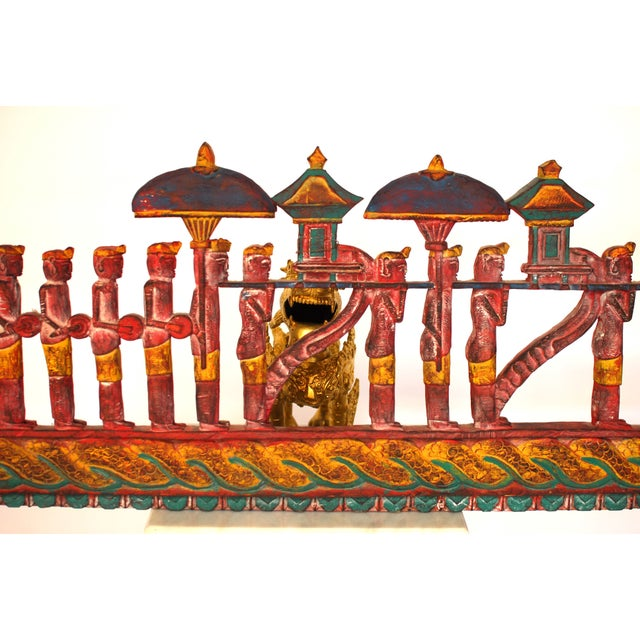 Antique Asian Carved Polychrome Serpent Panel For Sale In San Francisco - Image 6 of 6