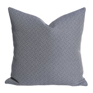 Navy & White Barkcloth Pillow Cover - 16x16 For Sale