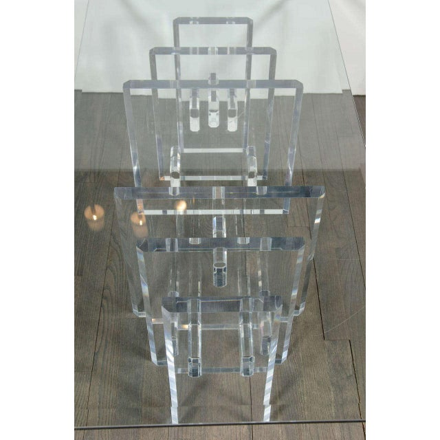 Transparent Sophisticated Mid-Century Modern Lucite and Glass Cocktail Table For Sale - Image 8 of 9