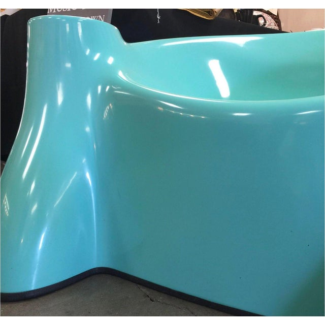 This super rare and gorgeous blue Wendell Castle fiberglass chair is smooth as silk. In perfect condition, the blue is...