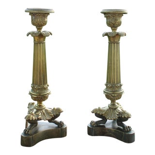 19th Century French Gilt Bronze Candleholders - a Pair For Sale