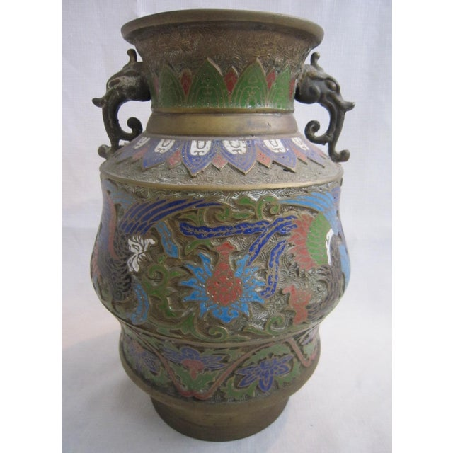 Chinese Champleve Dragon Vase For Sale - Image 4 of 5