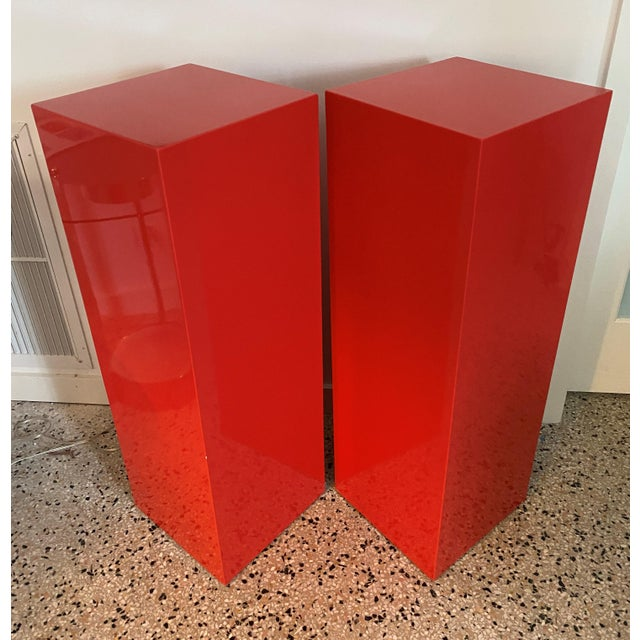 Vintage Minimalist Red Pedestals - a Pair For Sale - Image 12 of 13