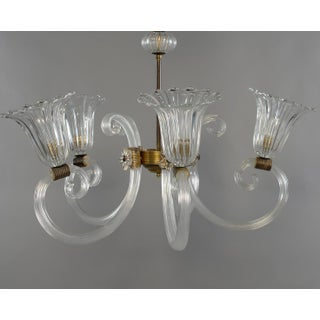 Ercole Barovier Art Deco Clear Blown Glass Chandelier With Brass Fittings Preview